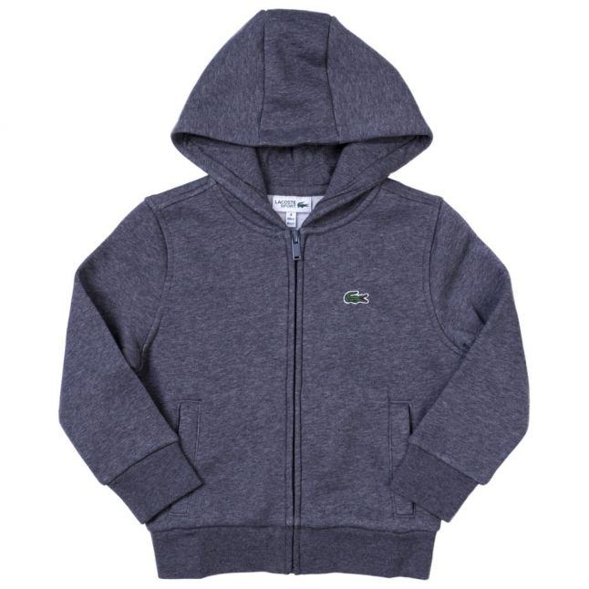 Boys Grey Hooded Zip Sweat Top