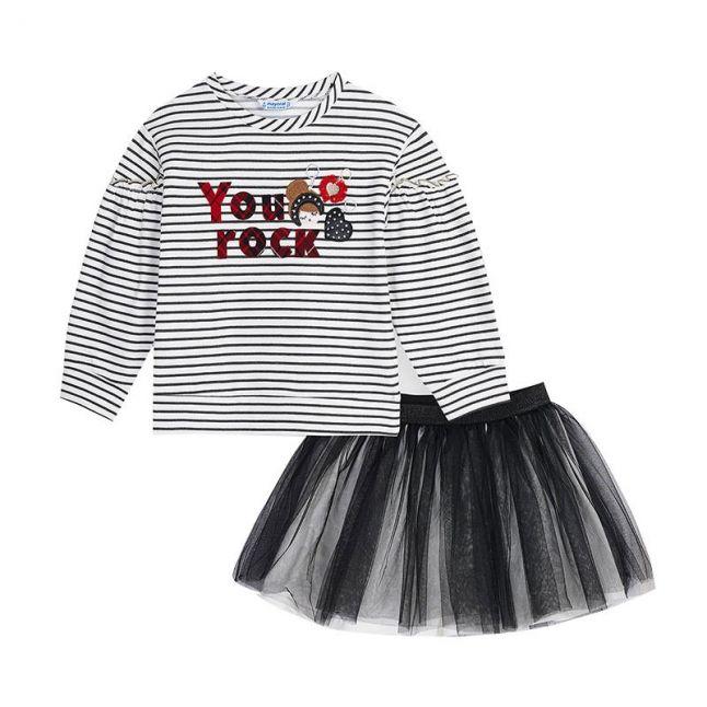 Girls Black/White Tulle Skirt Dress