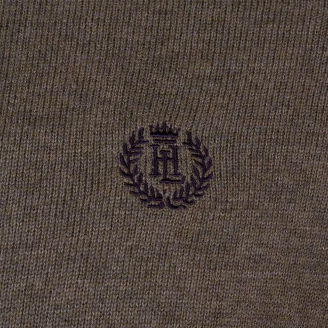 Mens Olive Melange Moray Regular Fit Half Zip Knitted Jumper