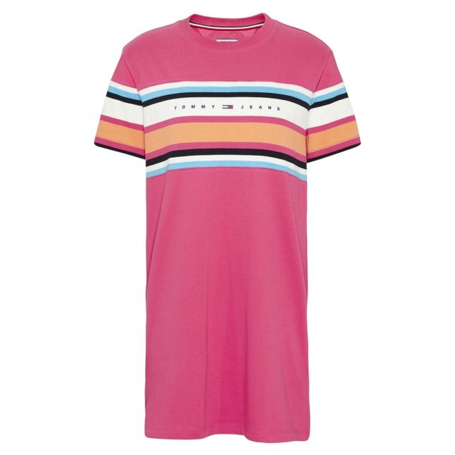 Womens Blush Red Logo Stripe Tee Dress