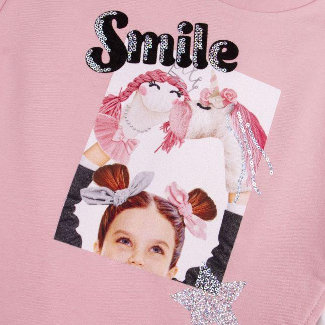 Mayoral Girls Blush Smile Sweat Top + Leggings Set