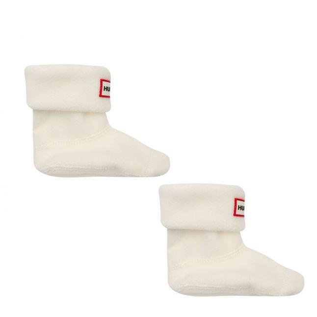 Kids Hunter White Fleece Welly Socks