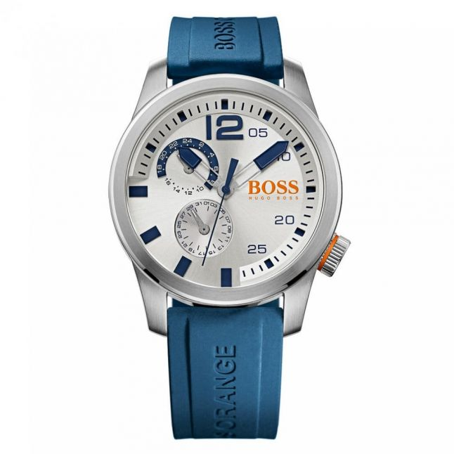 Watches Mens Silver Dial Paris Silicone Strap Watch