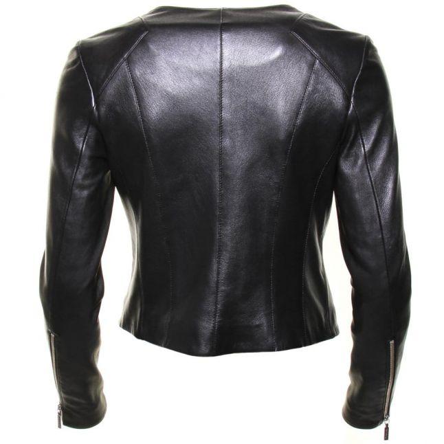 International Womens Black Shadow Mid Leather Jacket