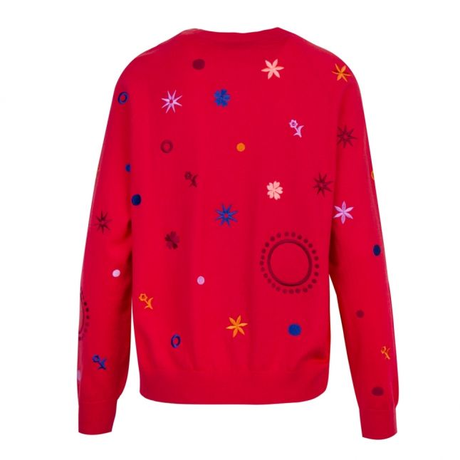 Womens Raspberry Supersonic Embroidered Knitted Jumper