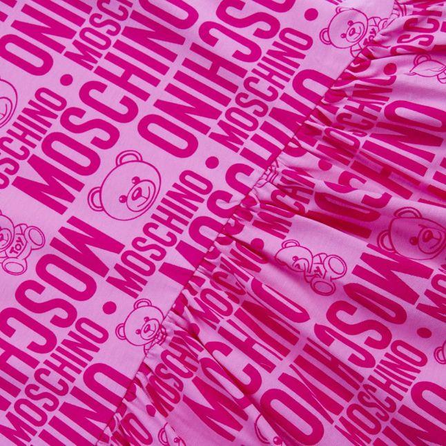 Girls Fuchsia Toy Printed Sleeveless Dress