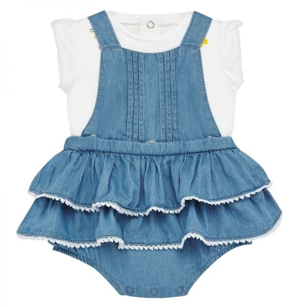 Baby Light Blue Denim Ruffle Dress Outfit