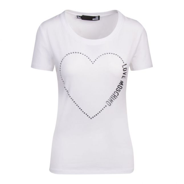 Womens Optical White Crystal Heart Slim Fit S/s T Shirt