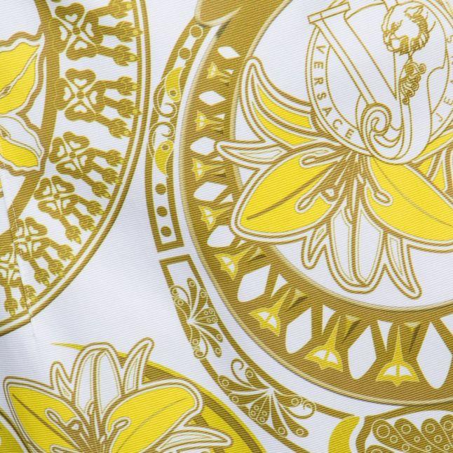 White & Gold Printed Dress