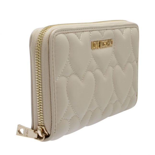 Womens Ivory Heart Quilted Zip Around Purse