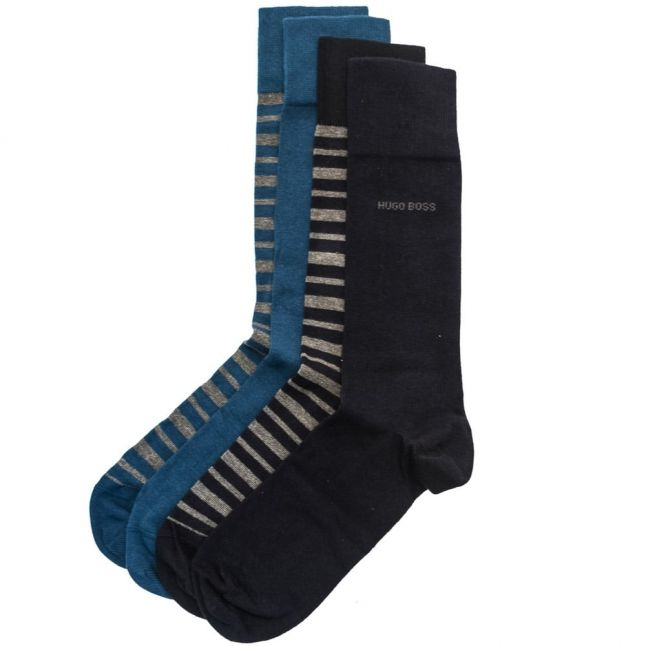 Mens Dark Blue 4 Pair Socks Design Boxed Gift Set