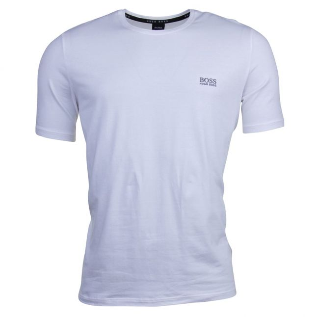 Mens White Embroidered Logo Lounge S/s Tee Shirt