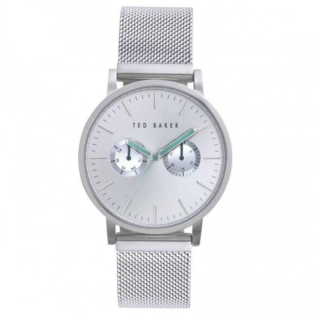 Mens Silver Mesh Bracelet Strap Watch