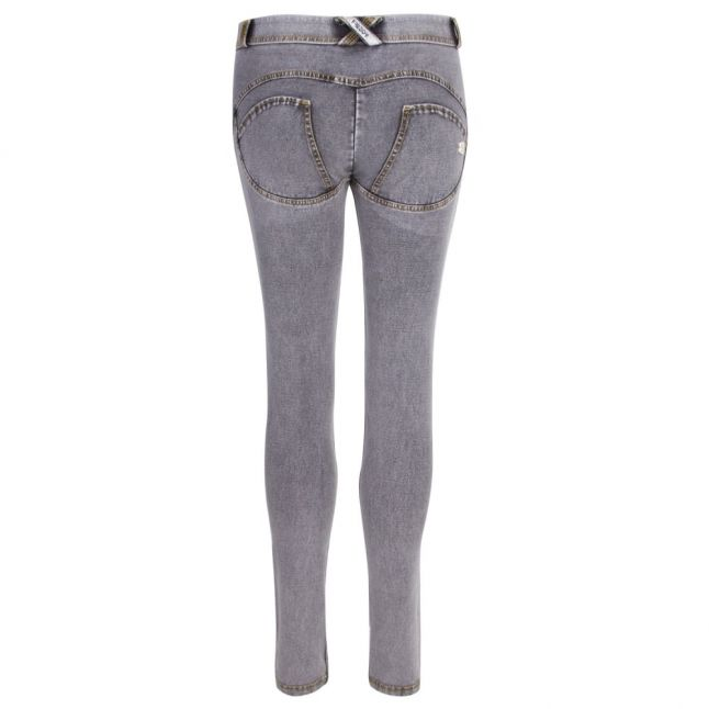 Womens Grey Mid Rise Skinny Jeans