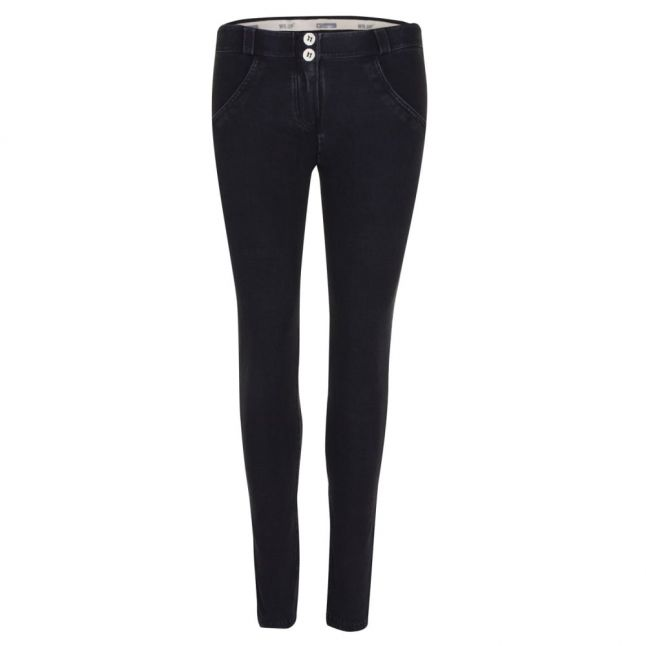 Womens Black Denim Mid Rise Skinny Jeans