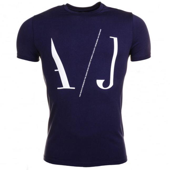 Mens Blue Letter Logo Slim Fit S/s Tee Shirt