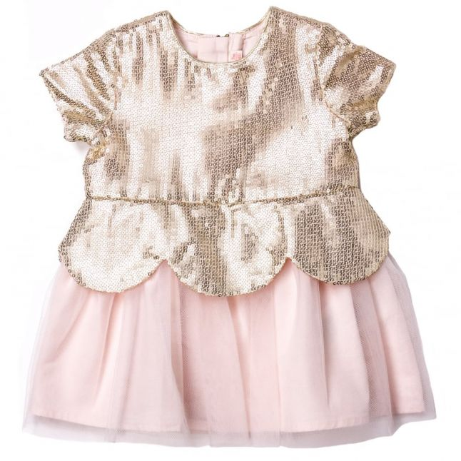 Baby Gold & Pink Sequin Scalloped Dress