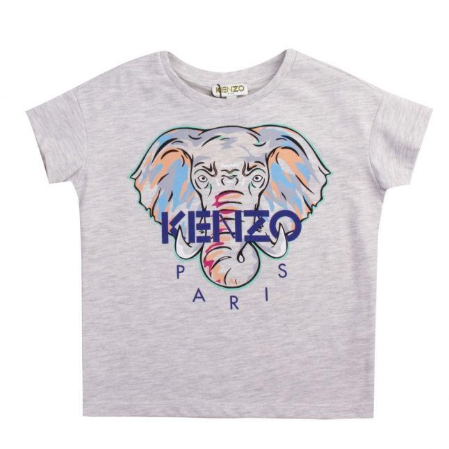 Girls Light Grey Marl Jamilia Elephant S/s T Shirt