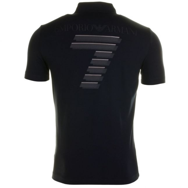 Mens Navy Training Soccer Back Print S/s Polo Shirt