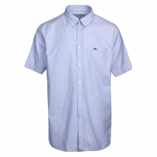 Mens Hemisphere Blue Oxford Regular Fit S/s Shirt