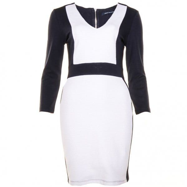 Womens Utility Blue & Winter White Textured Bodycon Dress