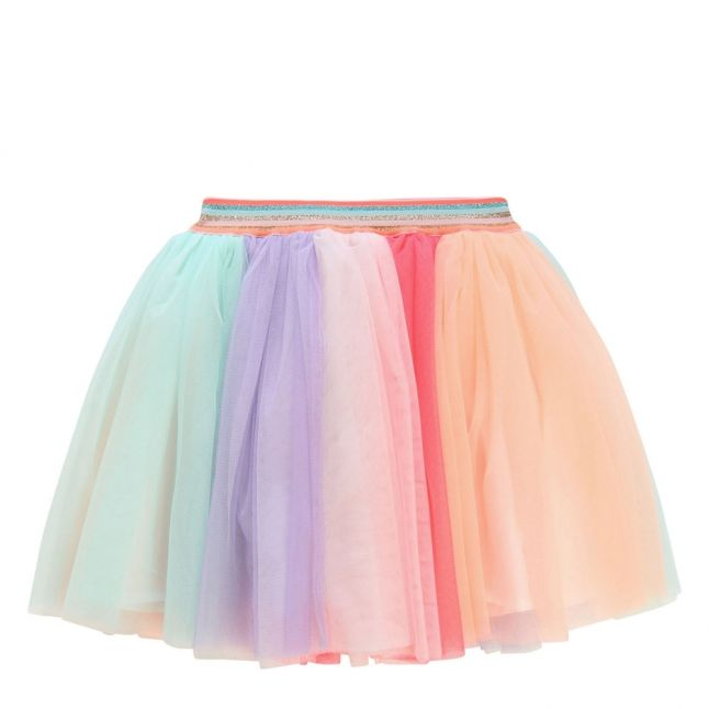 Girls Pastel Multi Pleated Net Skirt