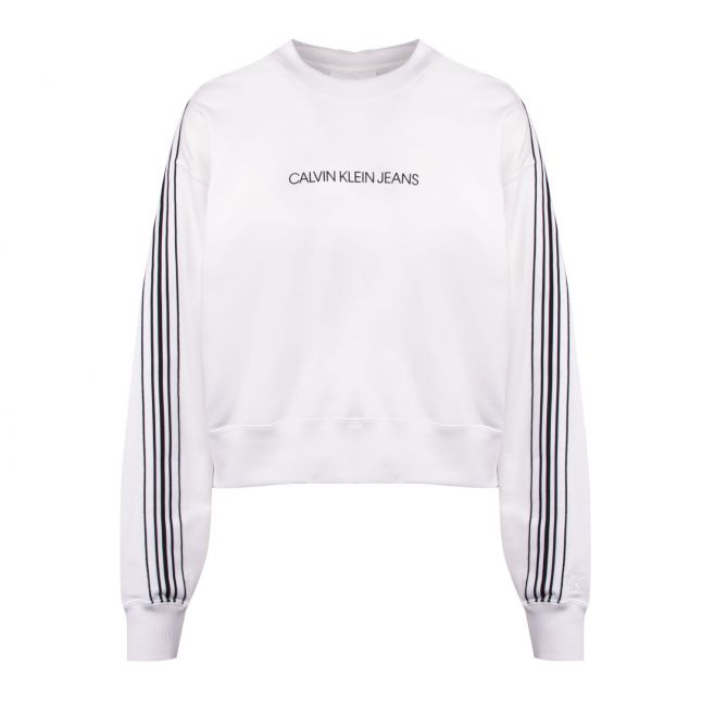 Calvin Klein Womens Bright White Stripe Tape Cropped Sweat Top