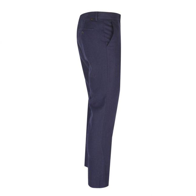 Mens True Navy Elm Wool Slim Fit Trousers