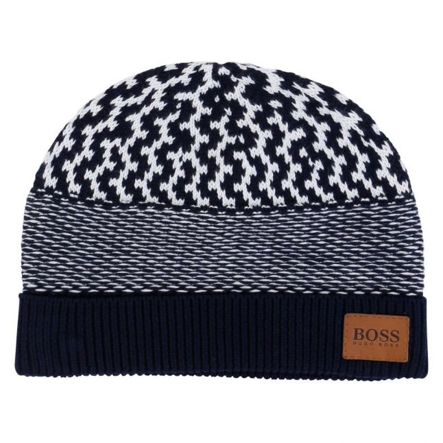 Boys Navy Striped Knitted Hat
