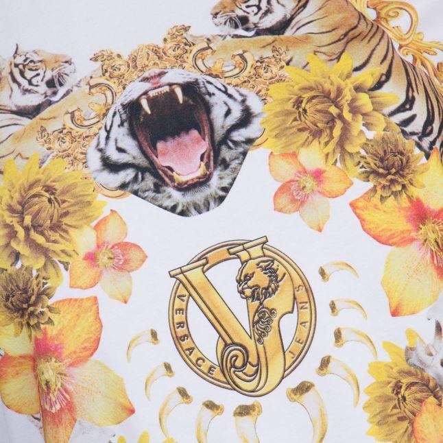 Versace Womens White Photo Tiger S/s Tee Shirt