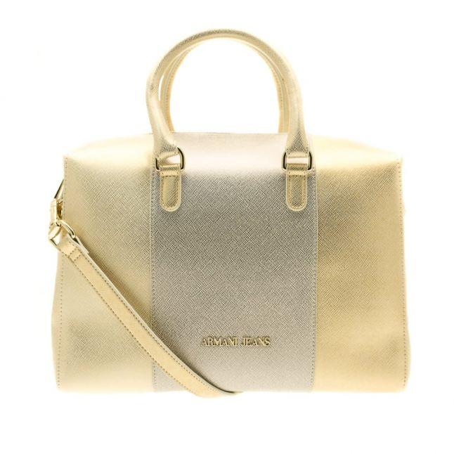 Womens Platinum Gold Crosshatch Tote Bag