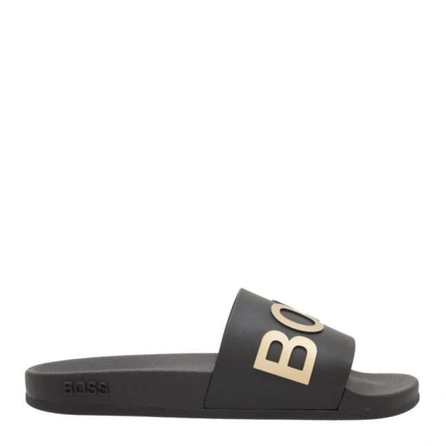 Mens Black/Gold Bay Logo Slides