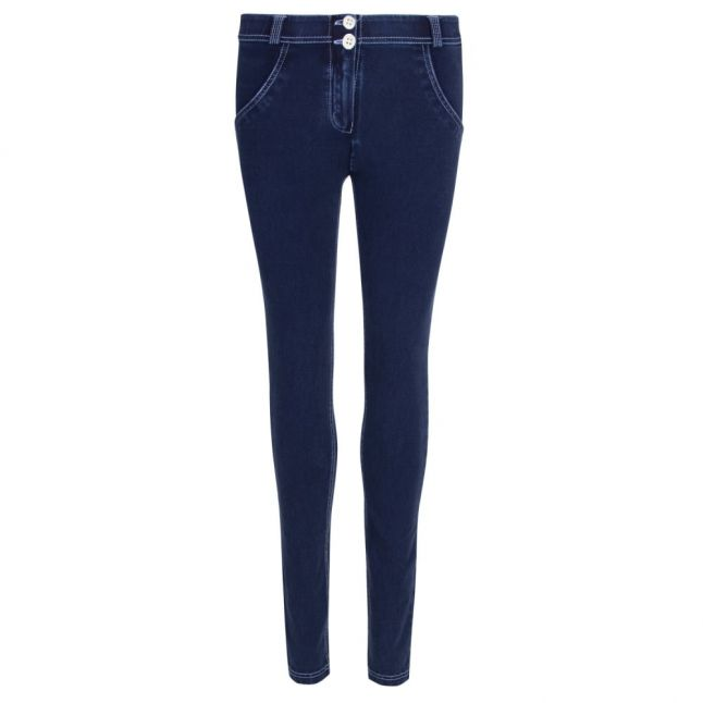 Womens Blue Denim White Stitch Mid Rise Skinny Jeans