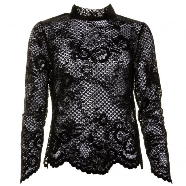 Womens Black Viloras L/s Lace Top