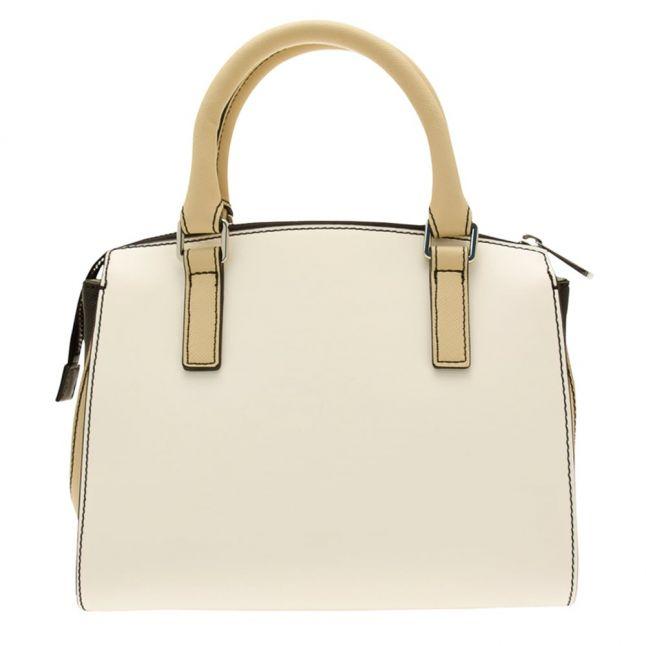 Womens White Colour Block Bag