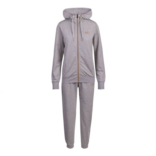 EA7 Womens Medium Grey Foil Logo Hooded Zip Tracksuit
