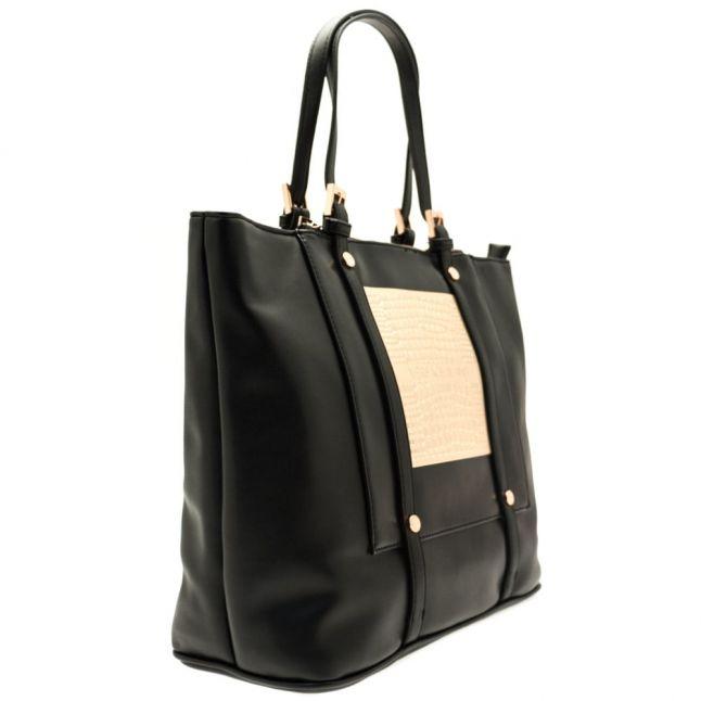 Womens Black Metallic Detail Shopper Bag
