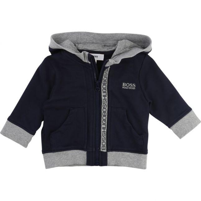 Baby Navy Hooded Zip Sweat Top