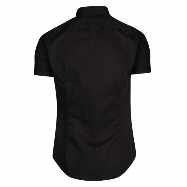 Mens Black Small Embroidered S/s Shirt