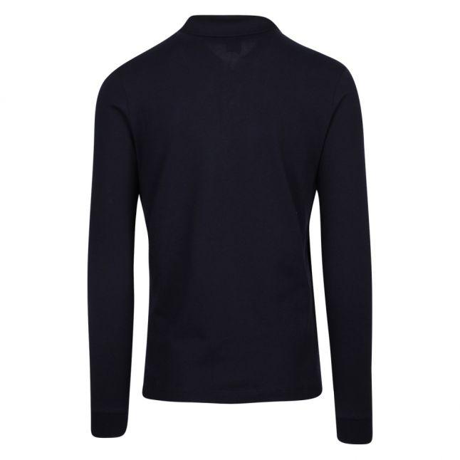 Mens Navy Classic Logo Custom Fit L/s Polo Shirt