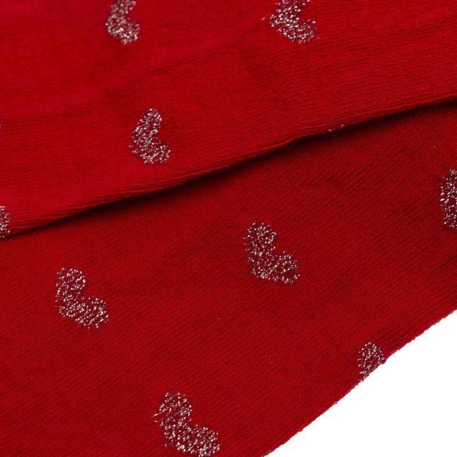 Girls Red Heart Print Tights