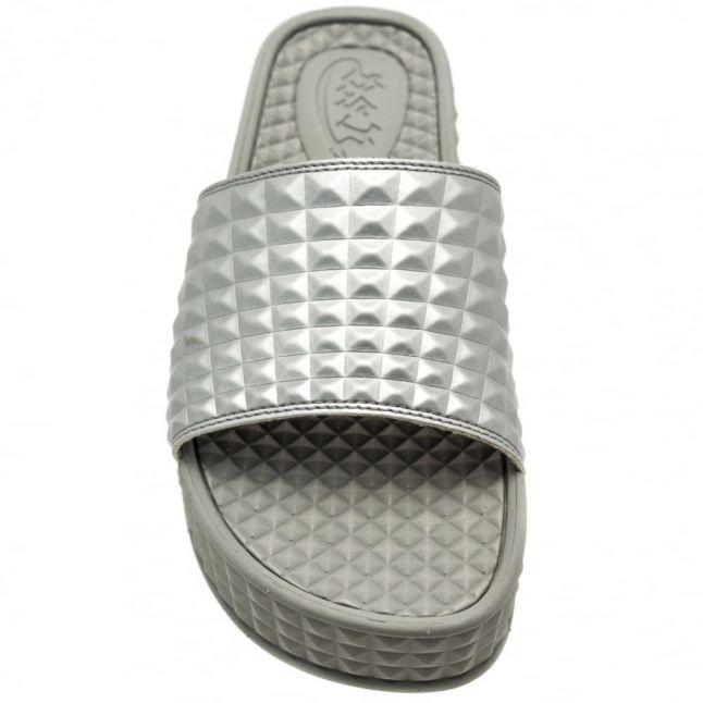 Womens Silver Scream Slide Sandals
