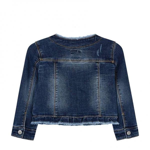 Girls Dark Blue Embroidered Daisy Denim Jacket
