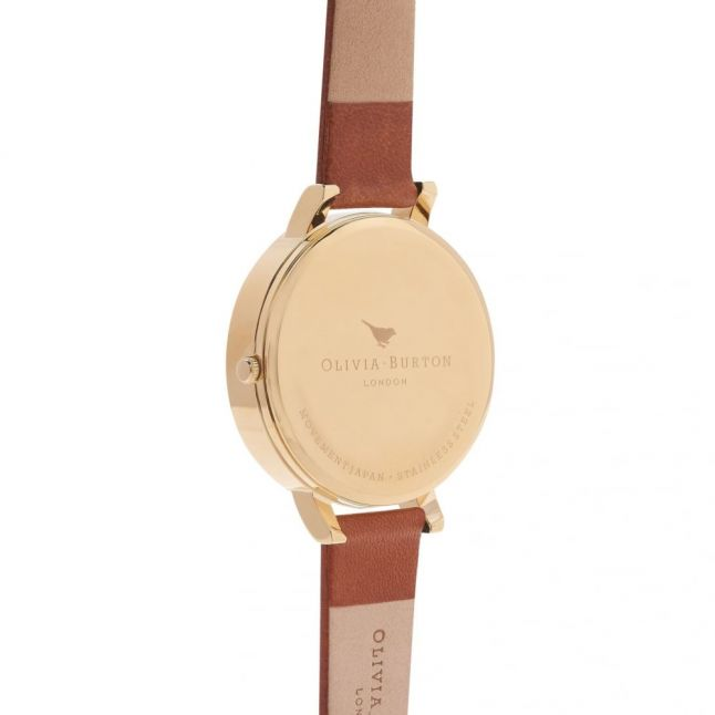 Womens Tan & Gold Animal Motif Moulded Bee Watch
