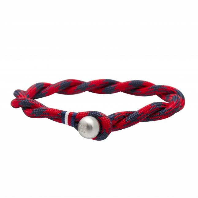 Mens Red/Blue Nylon Twist Bracelet