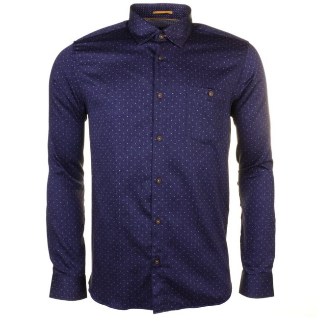 Mens Blue Maiter Dot L/s Shirt
