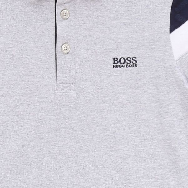 Boys Grey Marl Arm Panel Detail S/s Polo Shirt