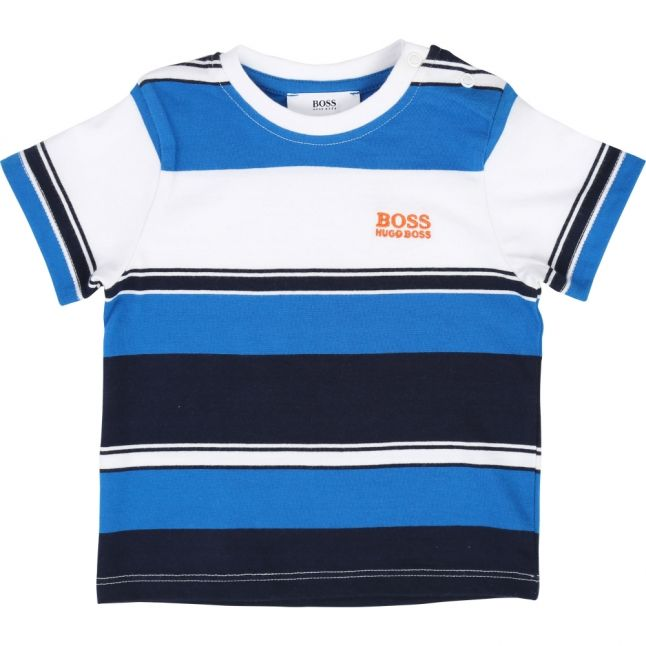 Toddler Navy Striped Logo S/s T Shirt
