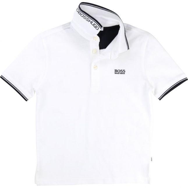 Boys White Tipped S/s Polo Shirt