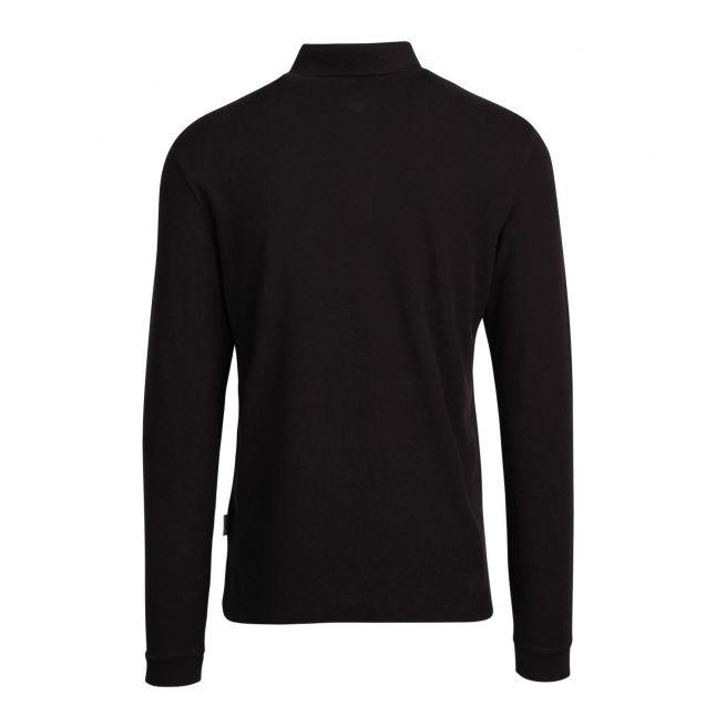 Mens Black Ebir Branded L/s Polo Shirt